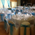 Main hall decorated for wedding reception at Tewin Memorial Hall