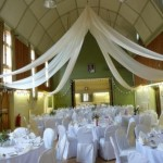 White wedding theme at Tewin Village Hall with view into Kimberley Room