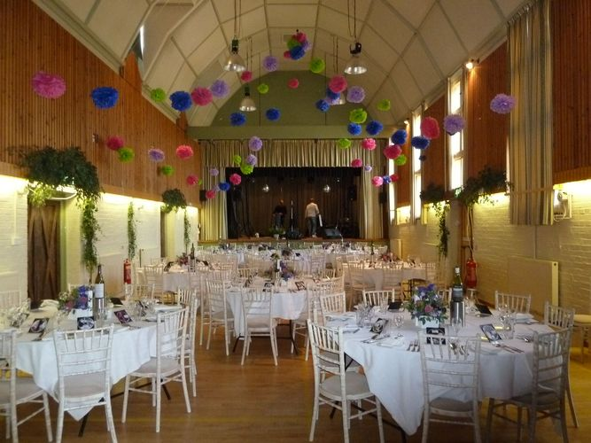Weddings tewin village memorial hall weddings at tewin memorial hall coloured ceiling decorations junglespirit