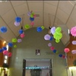 Coloured ceiling decorations at Tewin Memorial Hall