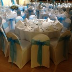 Blue & White Themed Wedding Reception in Tewin Memorial Main Hall