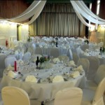 White wedding theme at Tewin Village Hall